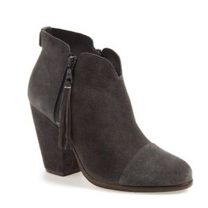 Rag & Bone Suede Margot Fringe Ankle Booties Shoes
